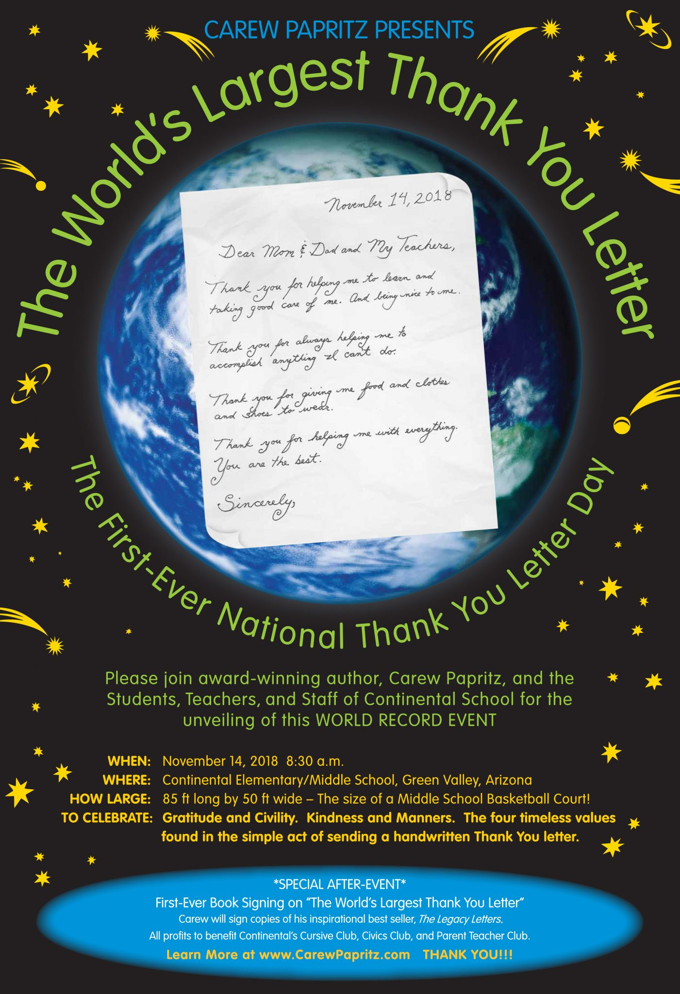 World's Largest Thank You Letter - The Legacy Letters by